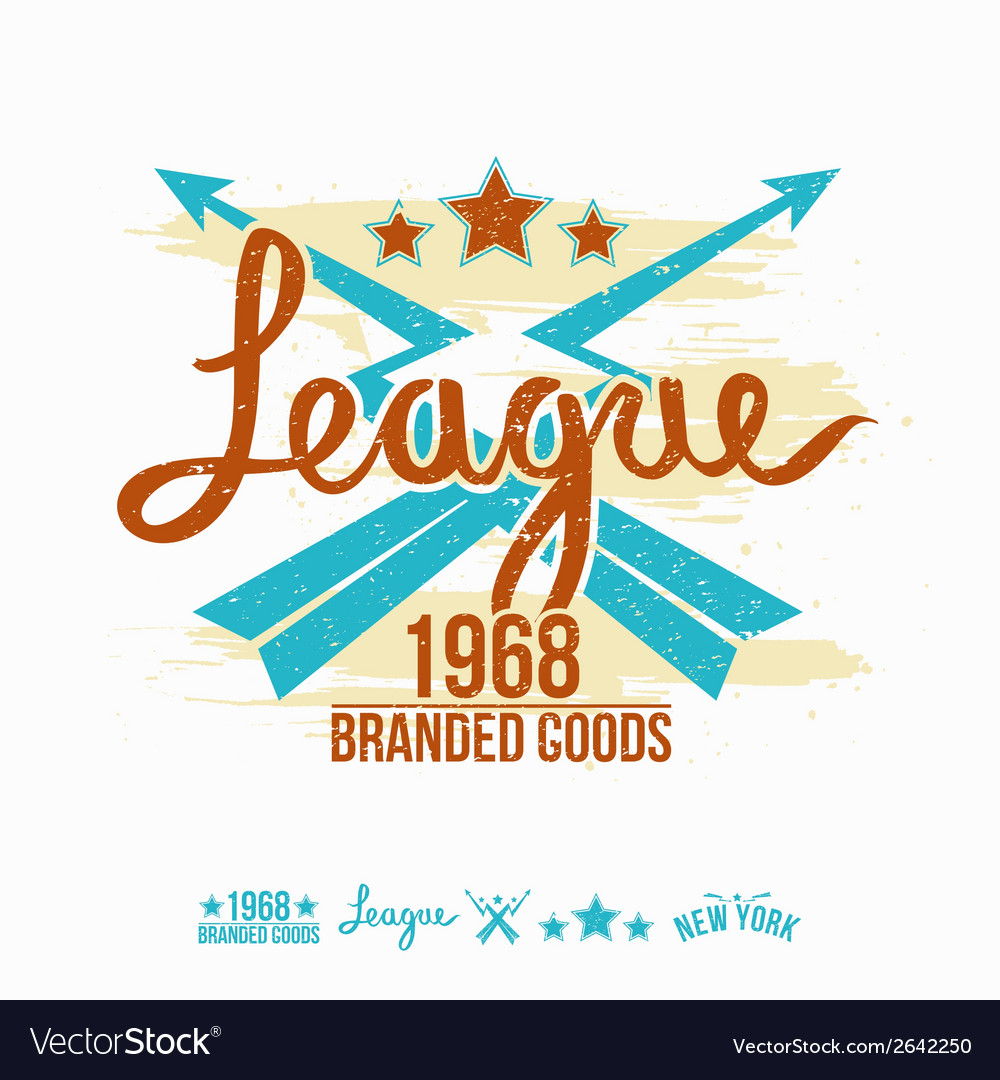 League emblem girls print and design elements vector | Price: 1 Credit (USD $1)