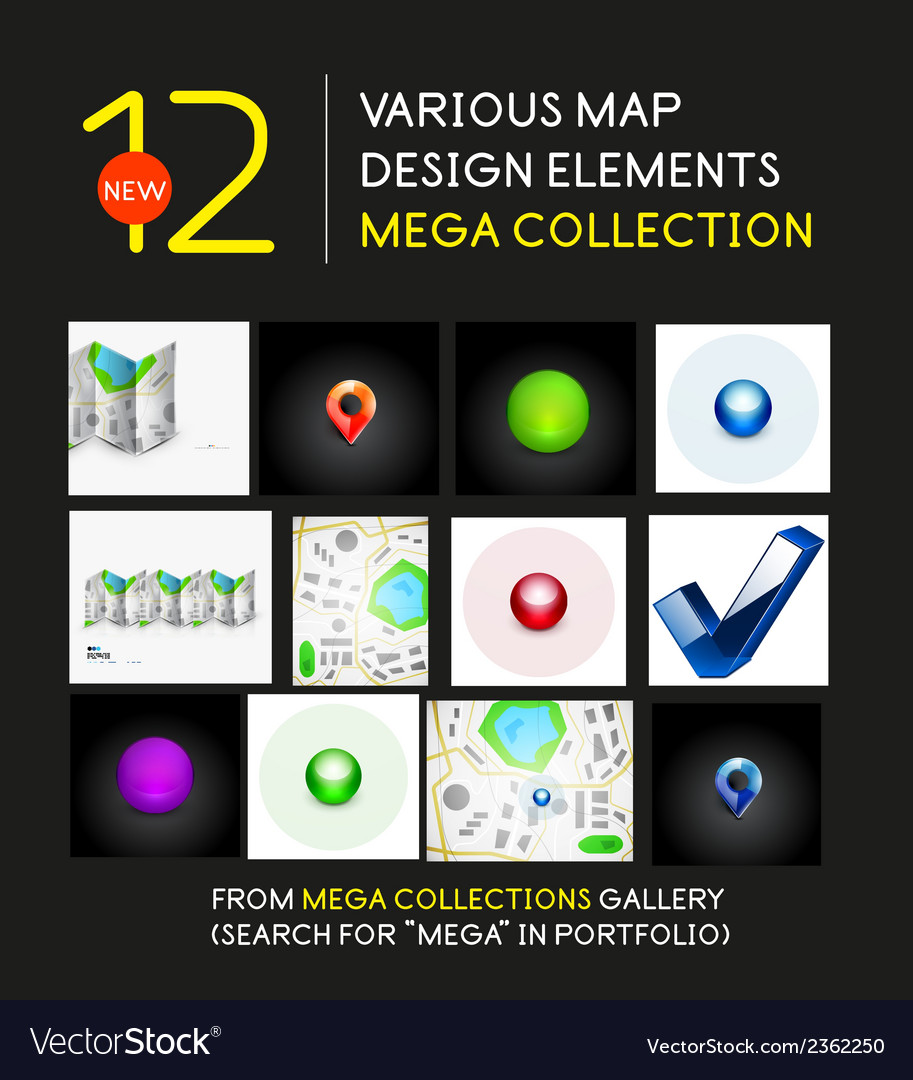 Mega collection of map design elements vector | Price: 1 Credit (USD $1)