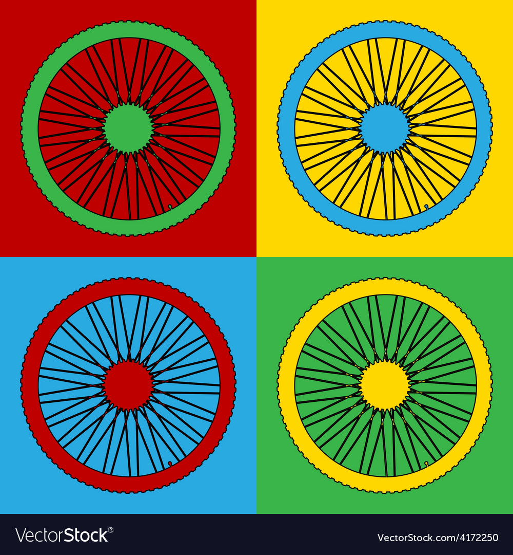 Pop art bicycle wheel icons vector | Price: 1 Credit (USD $1)