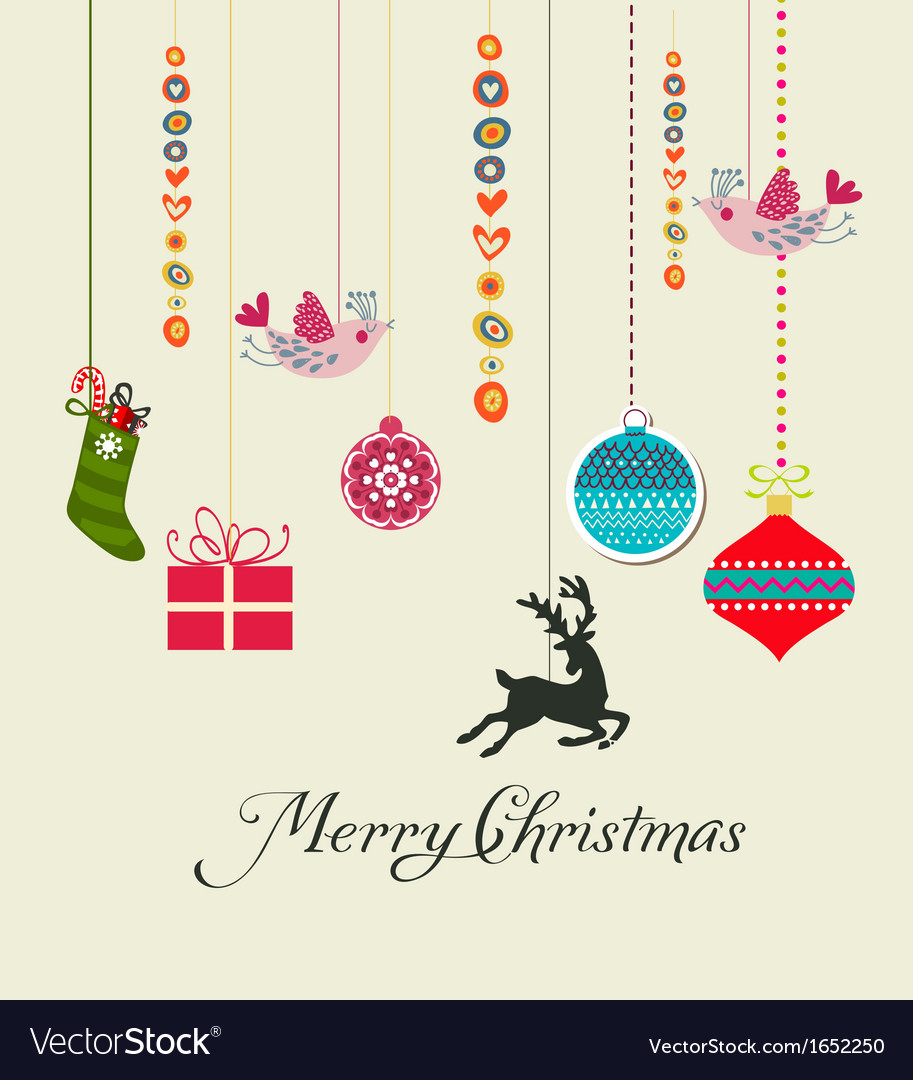 Retro christmas hanging elements vector | Price: 1 Credit (USD $1)