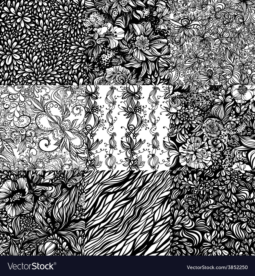 The set monochromatic abstract zentangle seamless vector | Price: 1 Credit (USD $1)