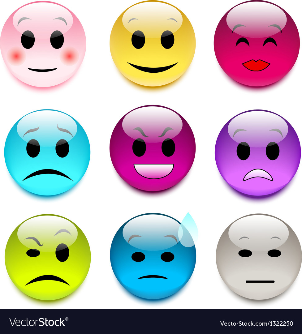 Set of color glass smileys vector | Price: 1 Credit (USD $1)