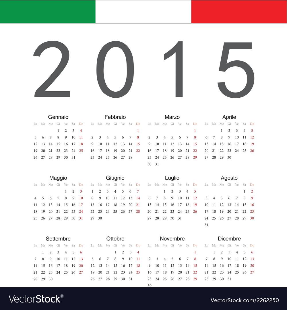 Simple italian 2015 year calendar vector   Price: 1 Credit (USD $1)