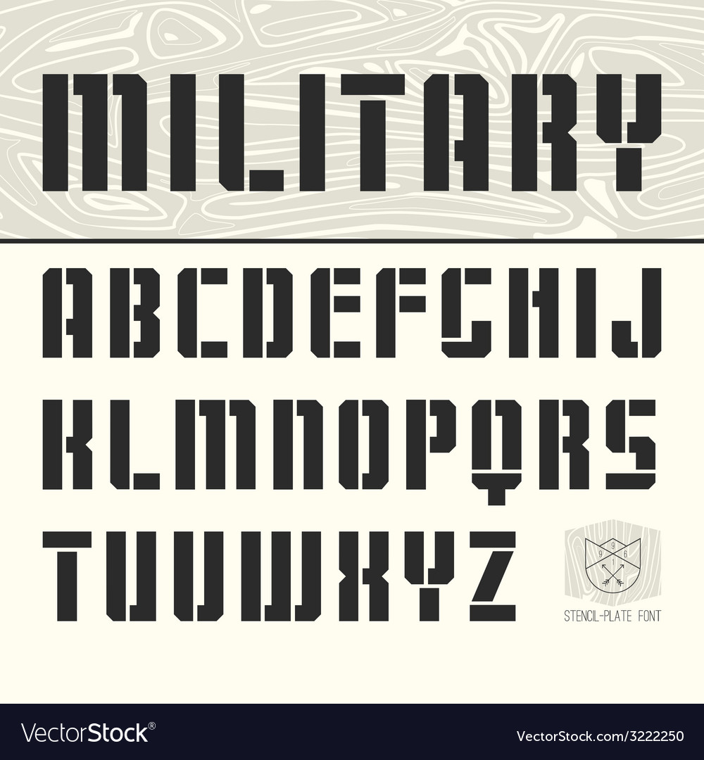 Stencil plate sans serif font vector | Price: 1 Credit (USD $1)
