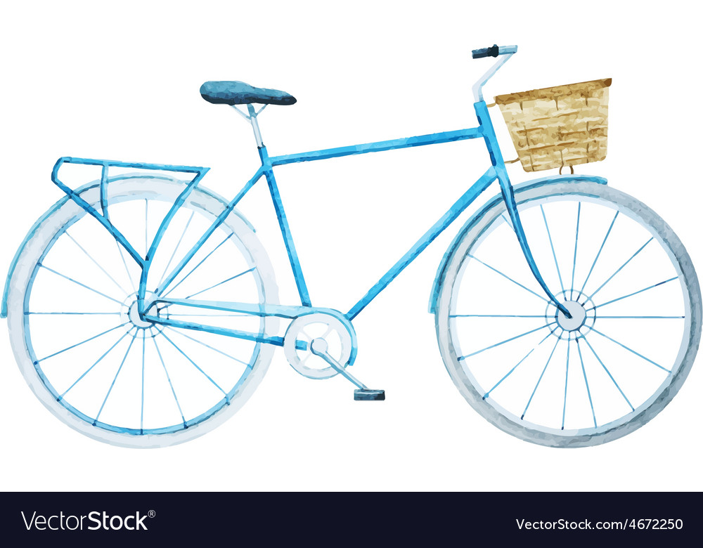 Watercolor bike bicycle vector