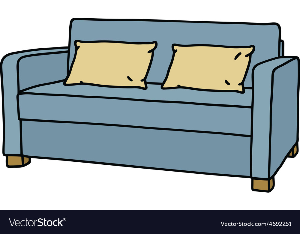 Blue couch vector | Price: 1 Credit (USD $1)