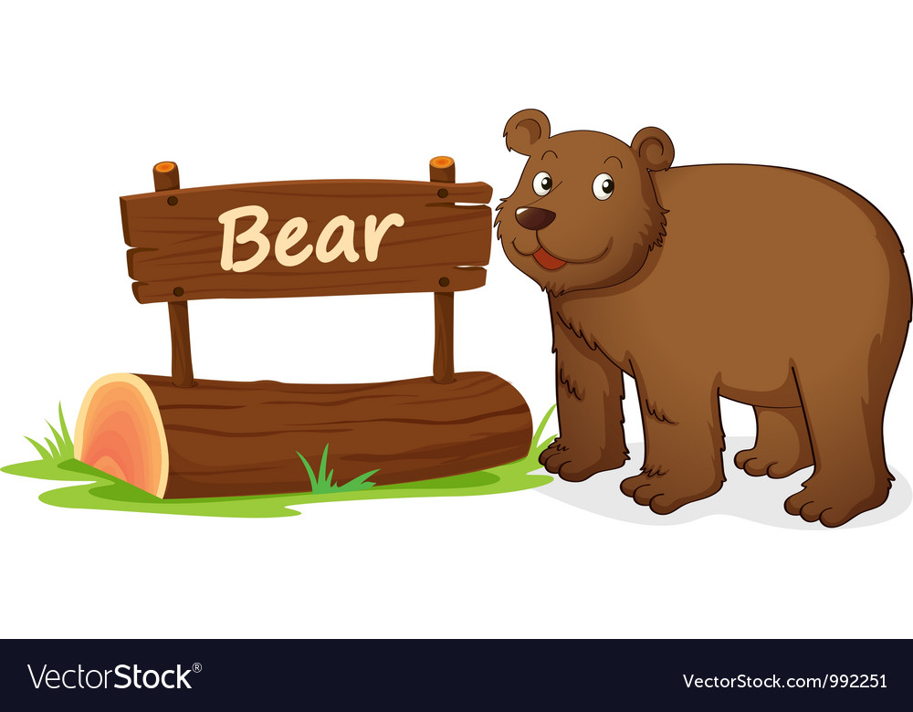 Cartoon zoo bear sign vector | Price: 1 Credit (USD $1)