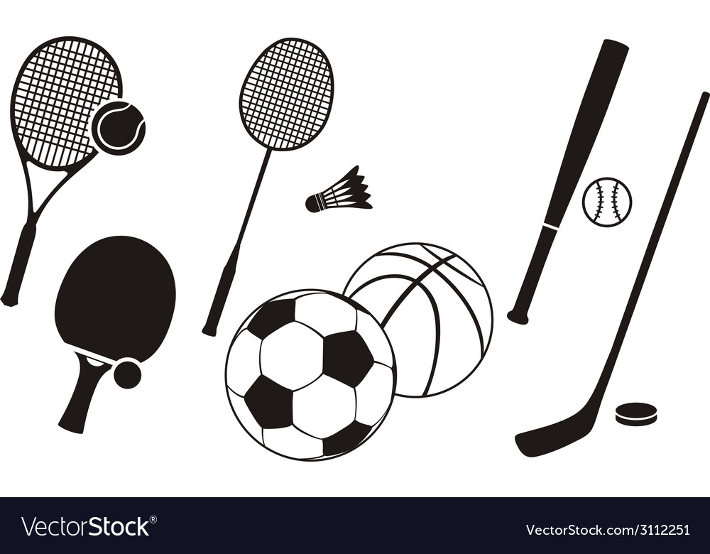 Hockey stick racket tennis baseball badminton vector | Price: 1 Credit (USD $1)