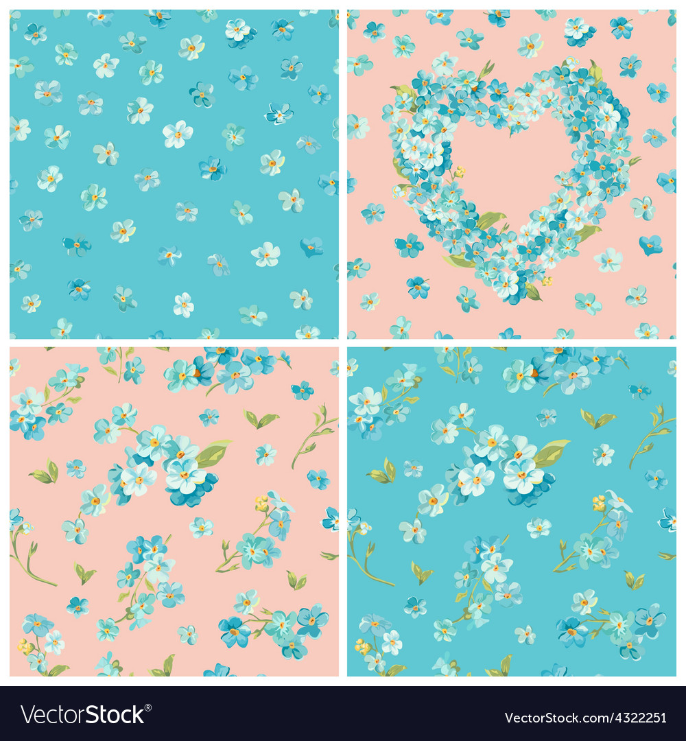 Set of spring blossom flowers backgrounds vector | Price: 1 Credit (USD $1)