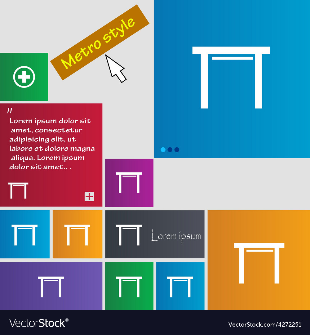 Stool seat icon sign metro style buttons modern vector | Price: 1 Credit (USD $1)