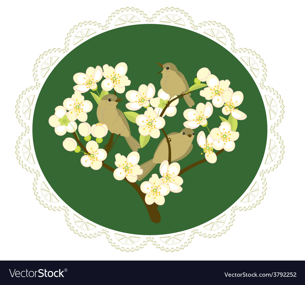 Birds on flowering branches vector | Price: 1 Credit (USD $1)