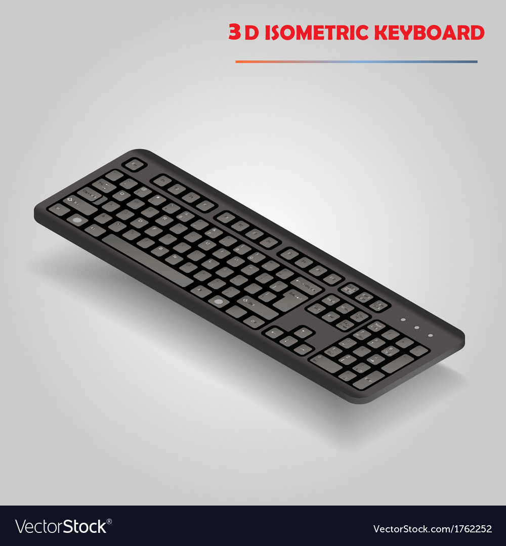 Black 3d computer keyboard vector | Price: 1 Credit (USD $1)