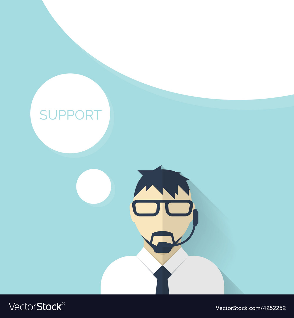Flat support background with male icon service vector | Price: 1 Credit (USD $1)
