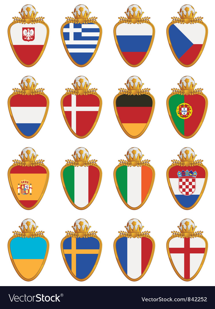 Football flag shields vector | Price: 1 Credit (USD $1)