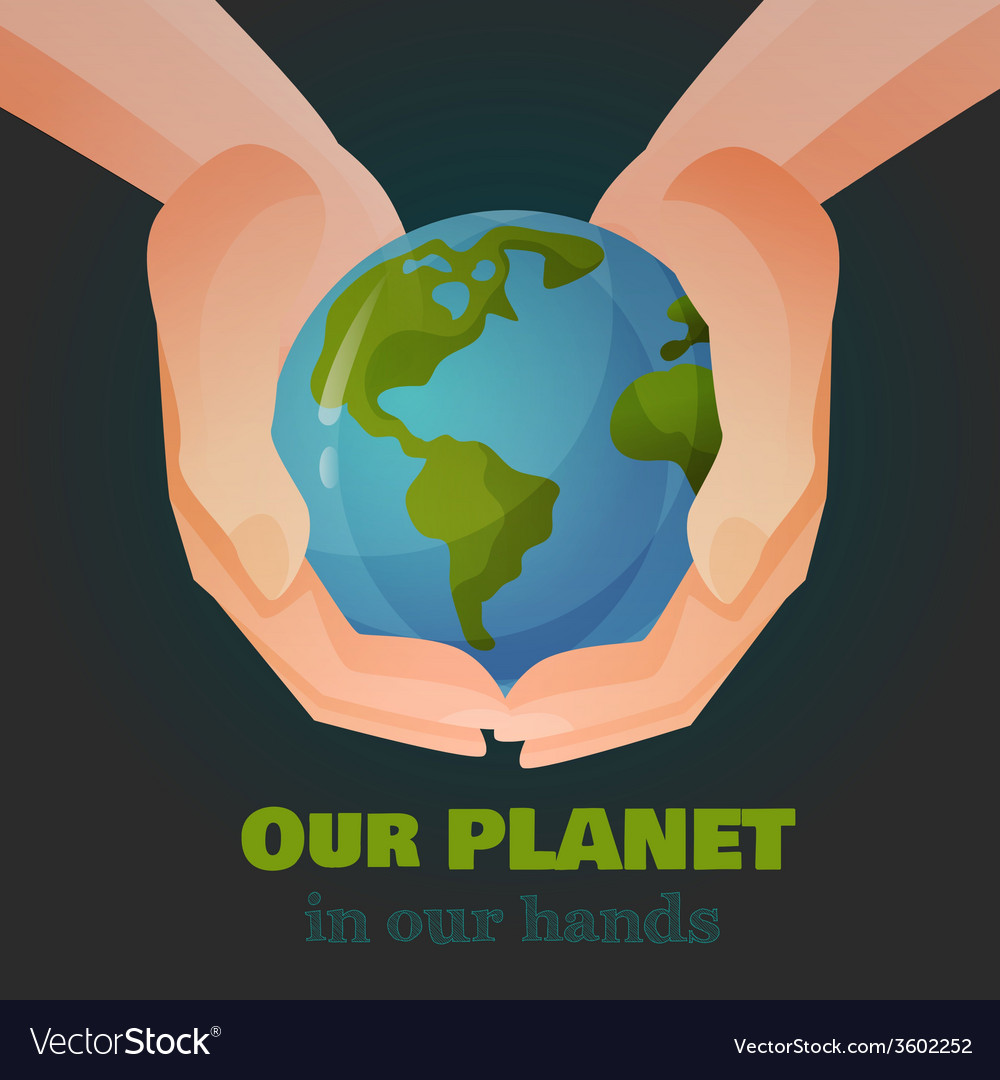 Hands holding the earth vector | Price: 1 Credit (USD $1)