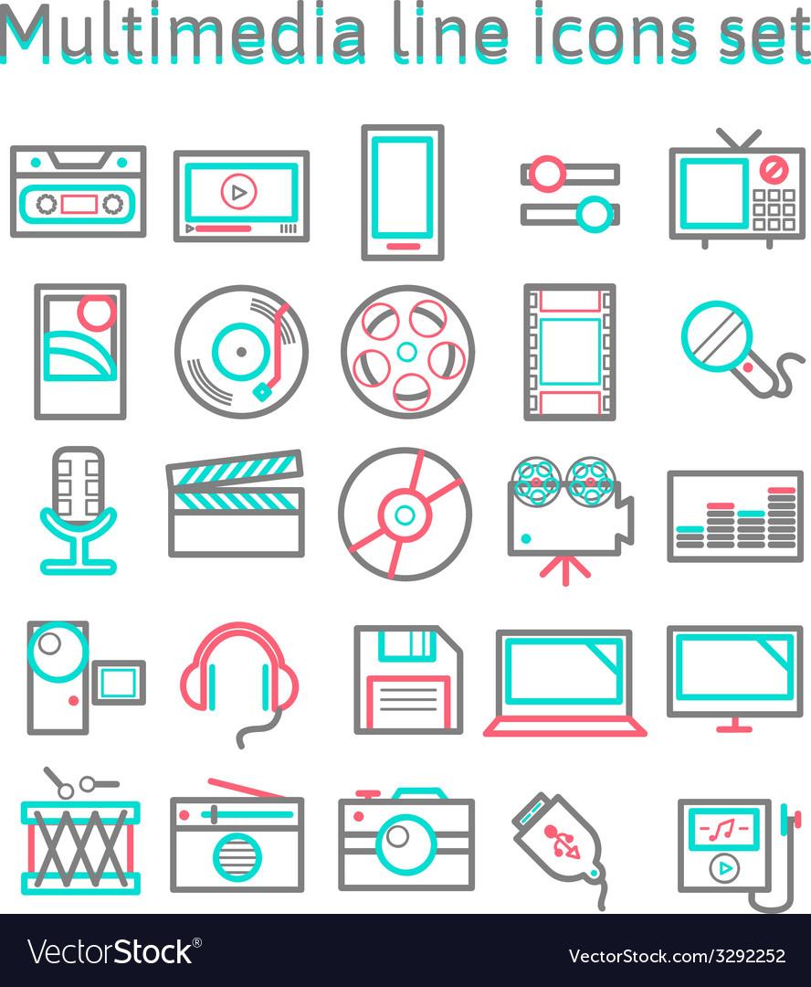 Multimedia line icons set vector | Price: 1 Credit (USD $1)