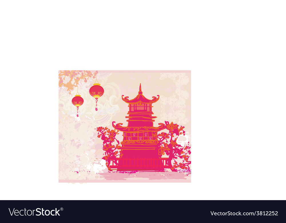 Old paper with asian landscape and chinese vector   Price: 1 Credit (USD $1)