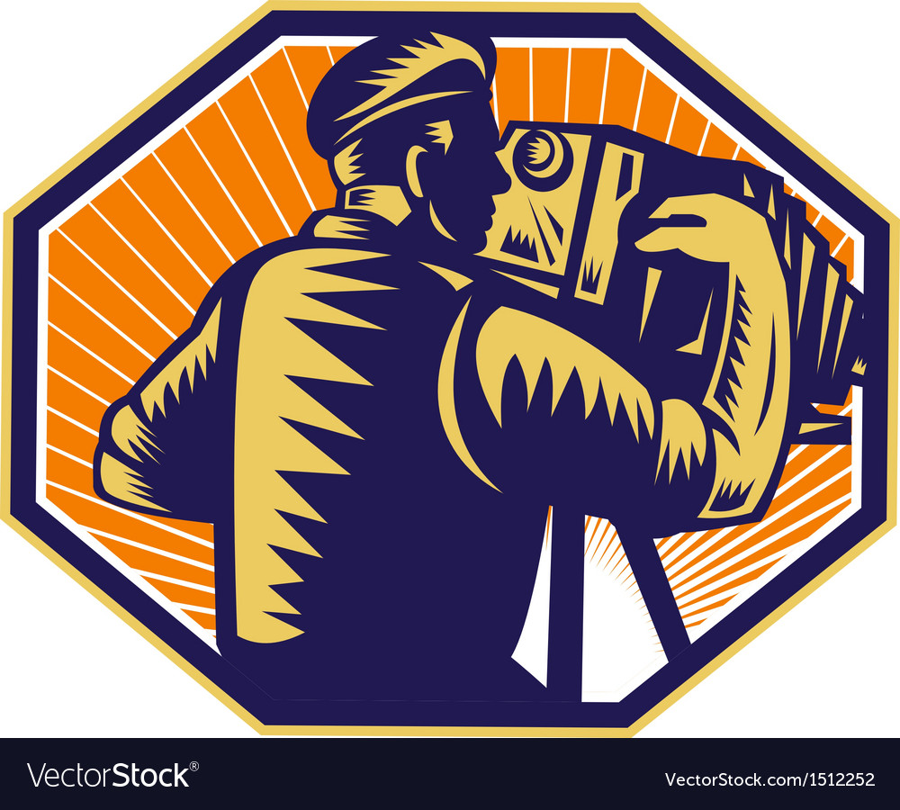 Photographer shooting vintage camera retro vector | Price: 1 Credit (USD $1)