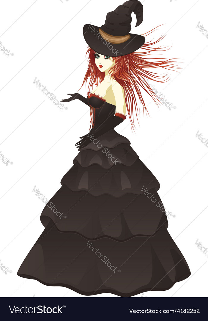 Witch in black dress vector | Price: 1 Credit (USD $1)