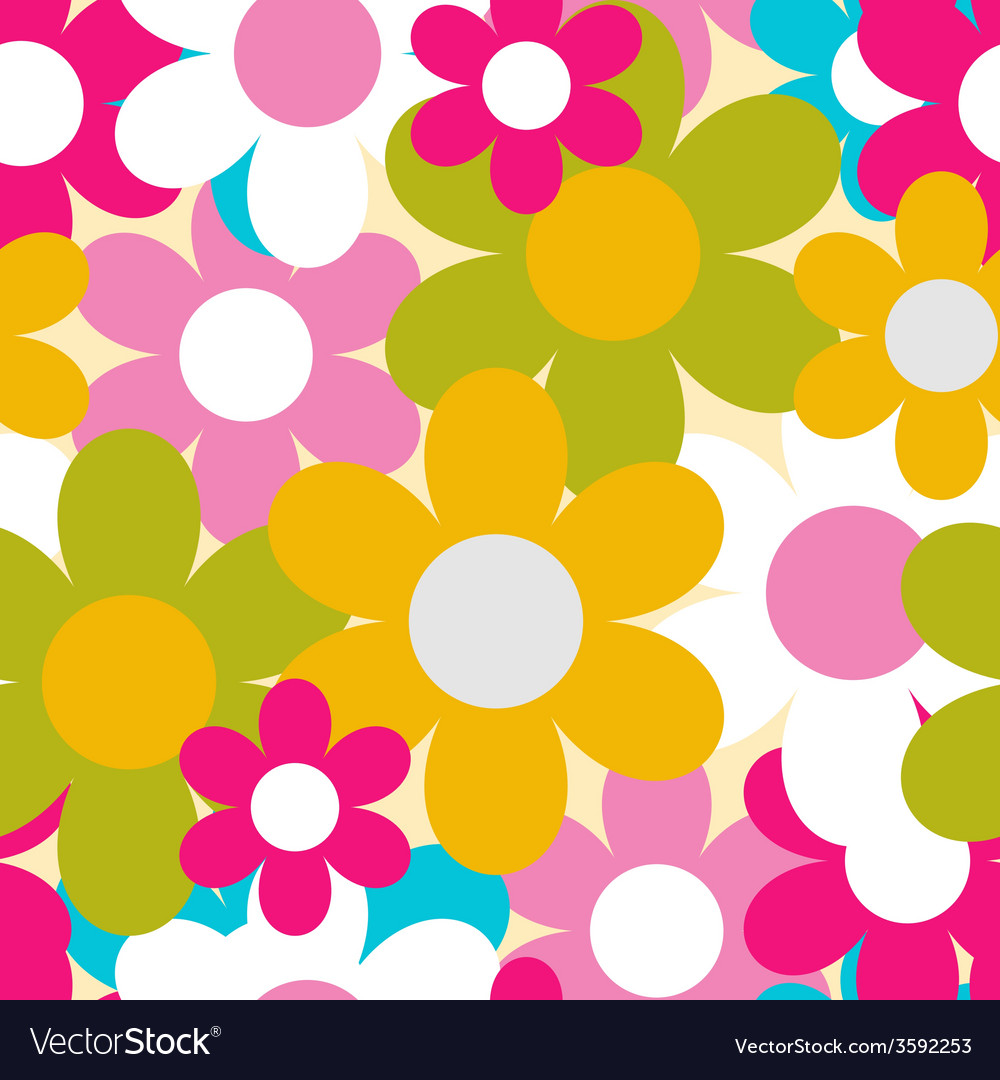Flowers nature seamless pattern background vector | Price: 1 Credit (USD $1)