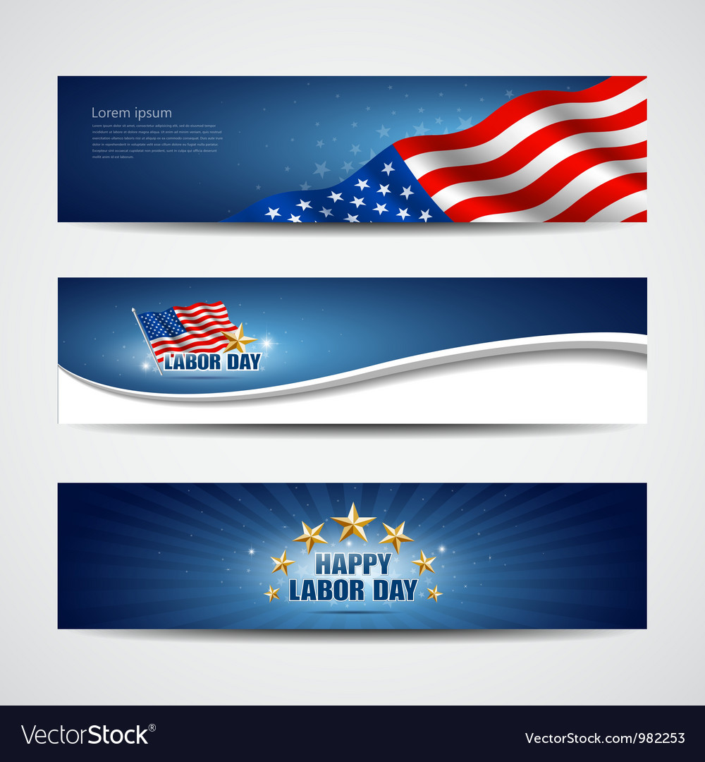 Labor day usa banner design set vector | Price: 3 Credit (USD $3)