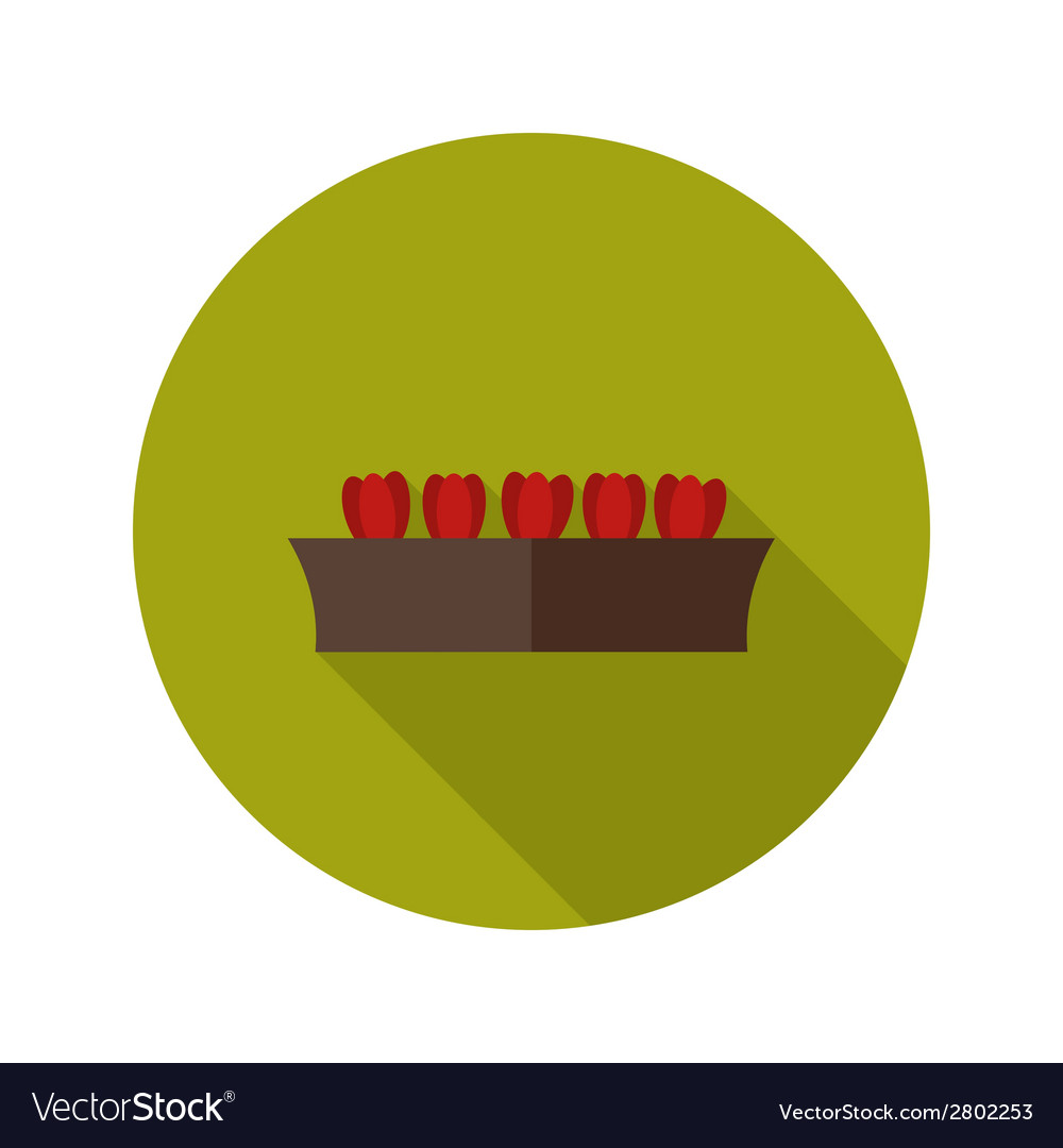Pot with tulips flat icon vector | Price: 1 Credit (USD $1)