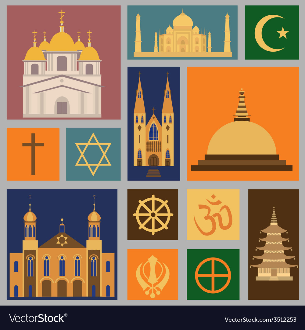 Religion icon set vector | Price: 1 Credit (USD $1)