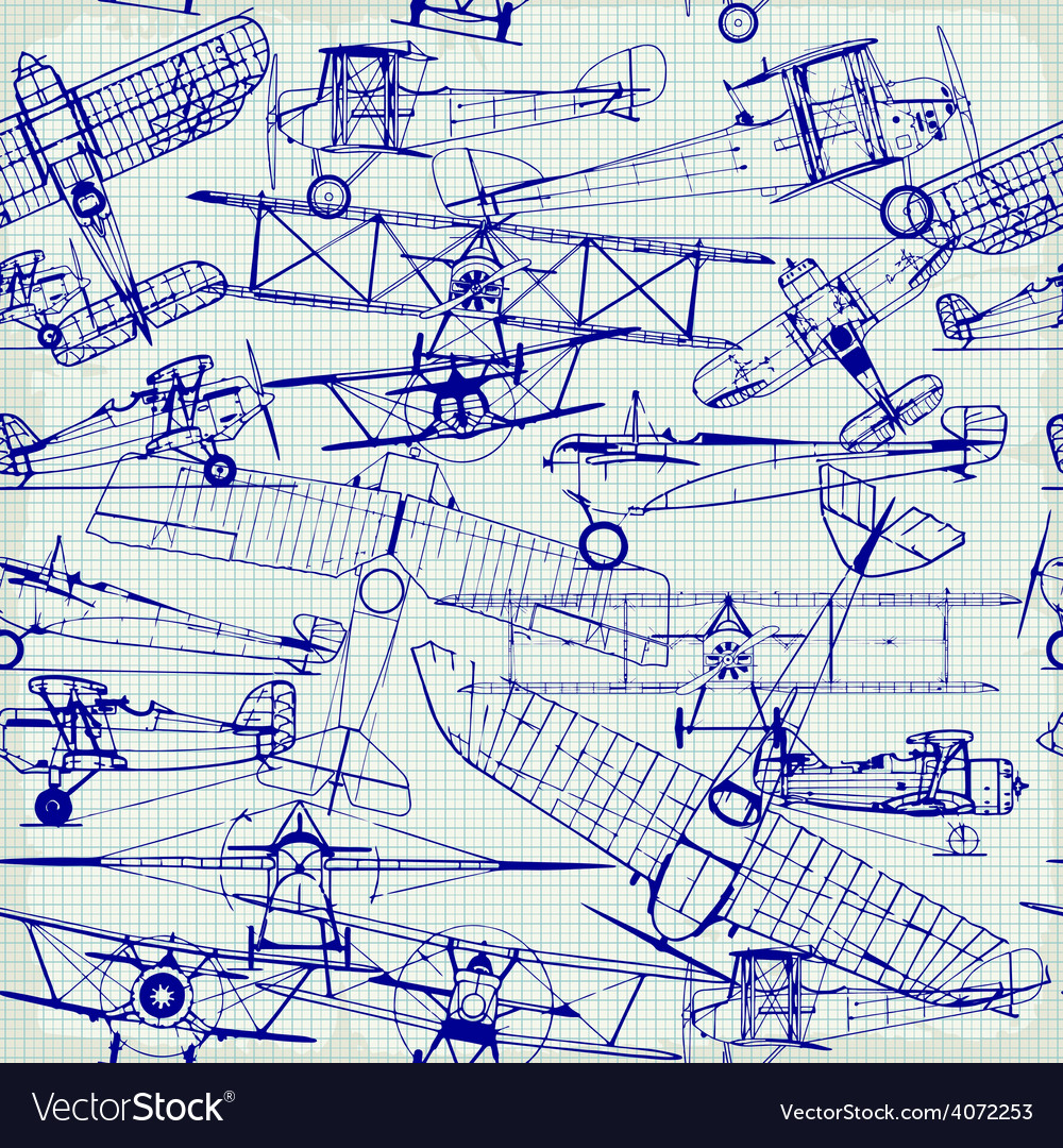 Retro seamless pattern  old airplanes drawing vector | Price: 1 Credit (USD $1)