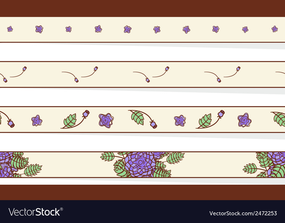 Set of borders with abstract roses vector | Price: 1 Credit (USD $1)