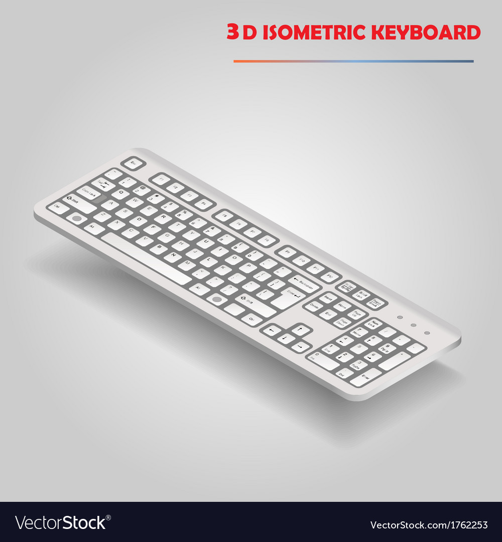 White 3d computer keyboard vector | Price: 1 Credit (USD $1)