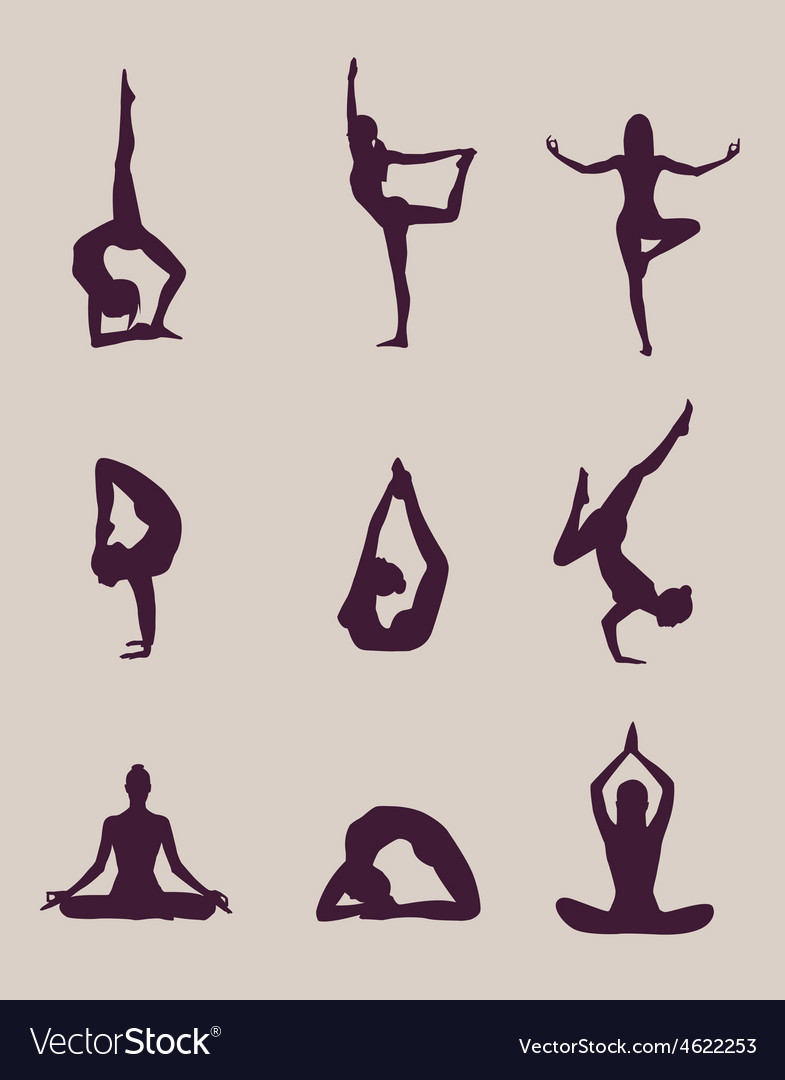 Yoga poses silhouettes vector | Price: 1 Credit (USD $1)
