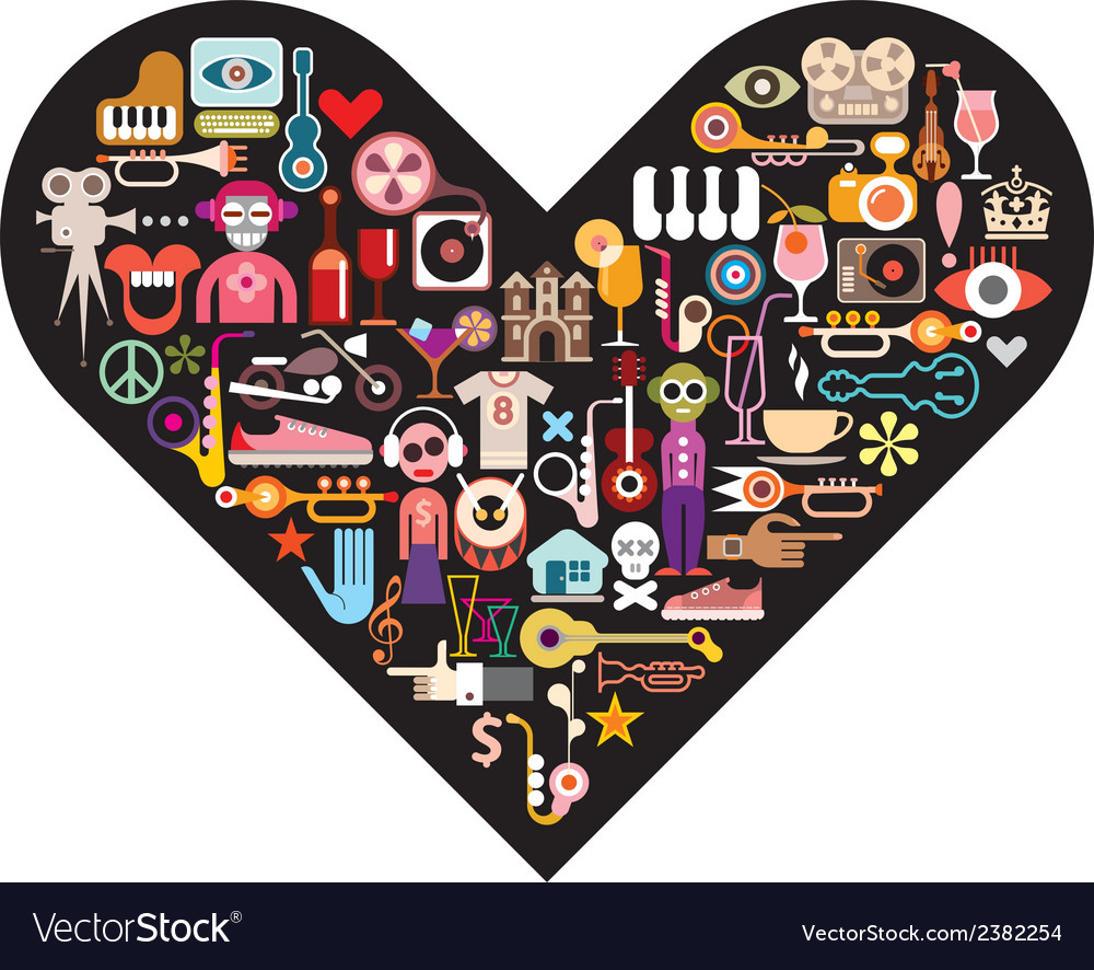 Art collage on black heart vector | Price: 1 Credit (USD $1)
