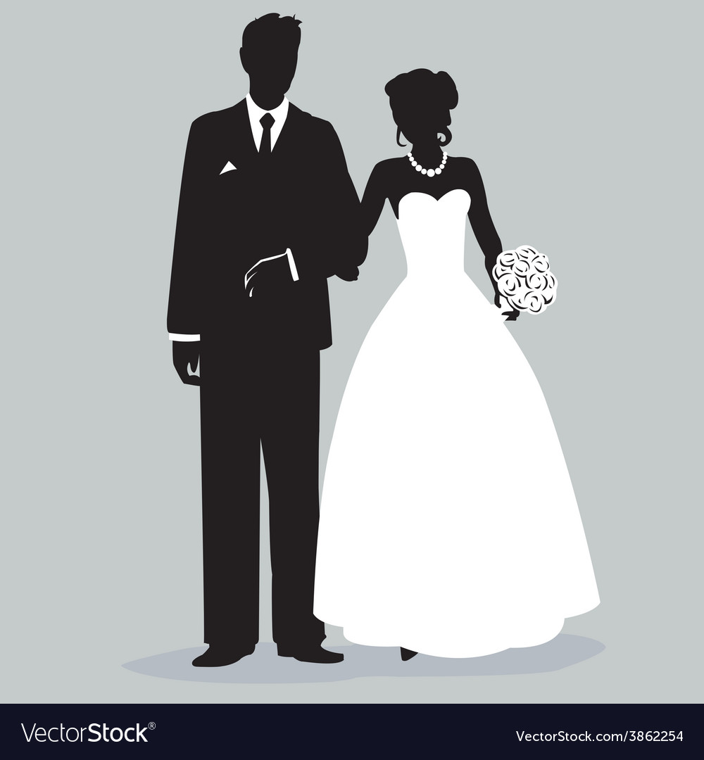 Bride and groom silhouette - vector | Price: 1 Credit (USD $1)