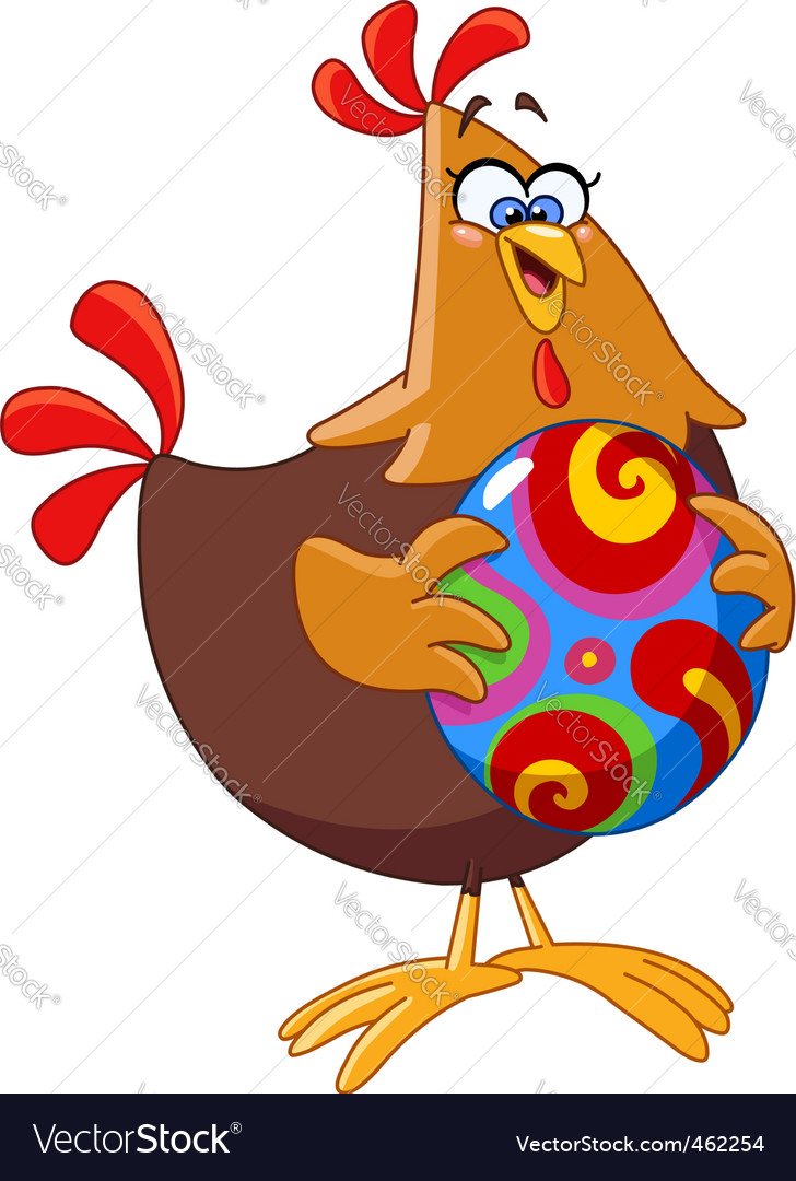 Chicken with easter egg vector | Price: 1 Credit (USD $1)