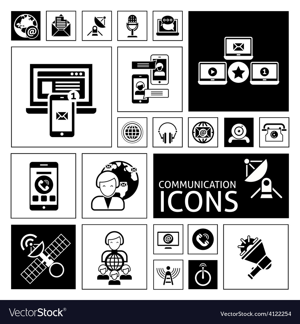 Communication icons black vector | Price: 1 Credit (USD $1)
