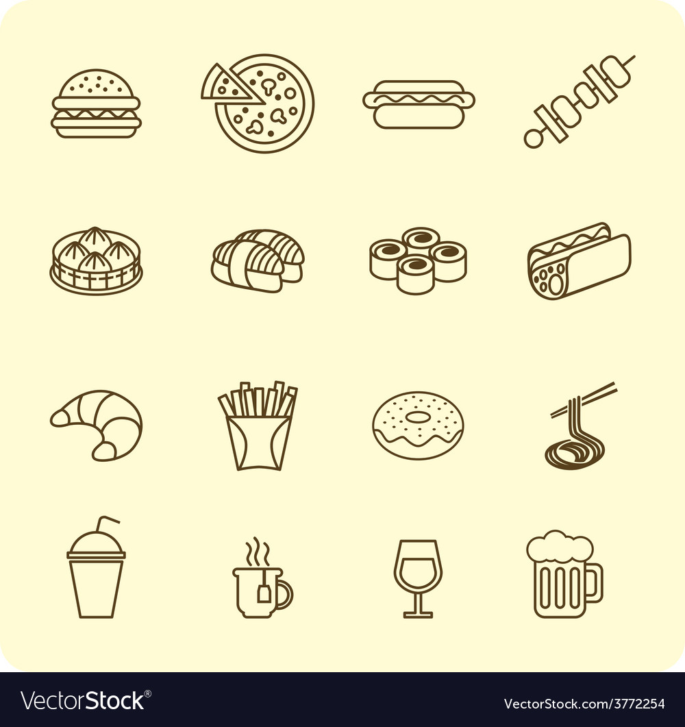 Fast food outline icon set vector | Price: 1 Credit (USD $1)