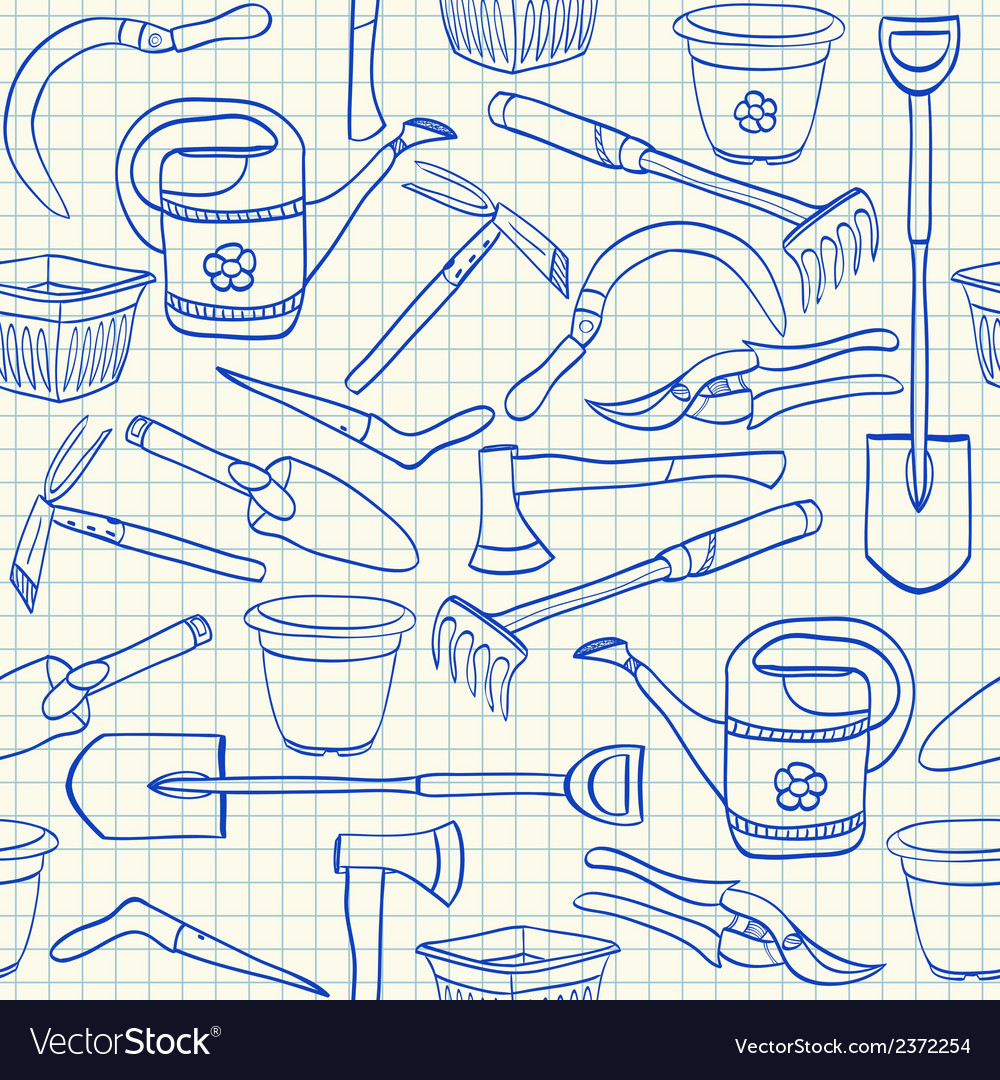 Gardening tools seamless pattern vector | Price: 1 Credit (USD $1)
