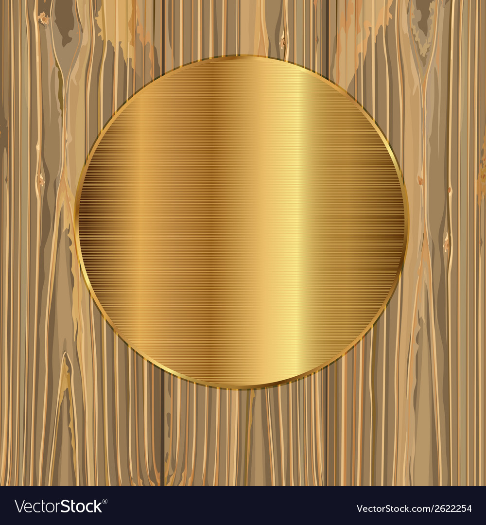 Gold circle on a planks vector | Price: 1 Credit (USD $1)