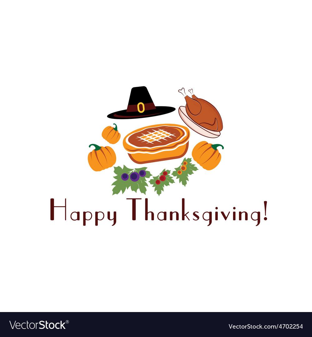 Happy thanksgiving with pieturkey pilgrim hat and vector   Price: 1 Credit (USD $1)