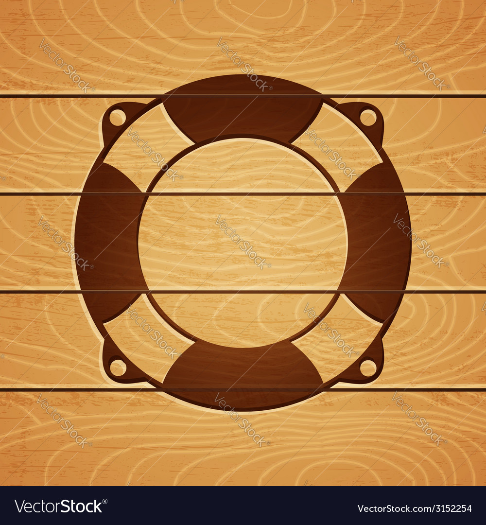 Lifebouy on wooden background vector | Price: 1 Credit (USD $1)