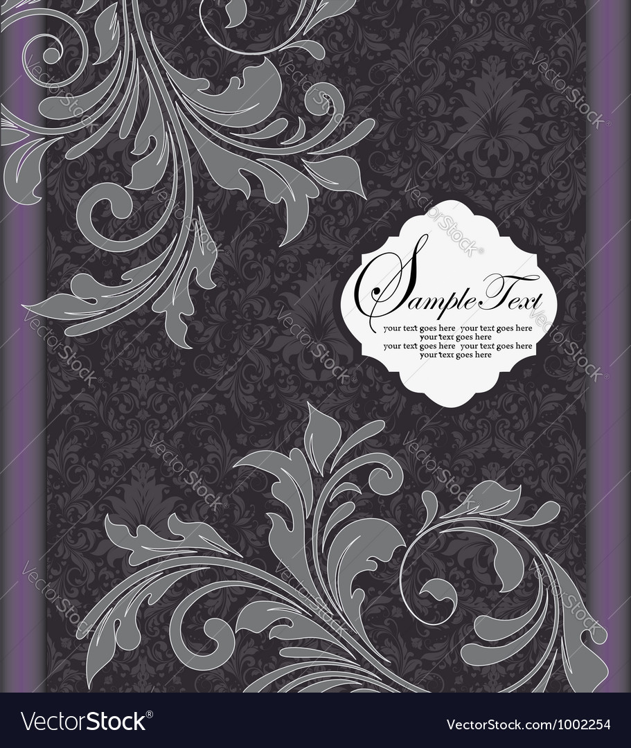 Purple and gray invitation card vector | Price: 1 Credit (USD $1)