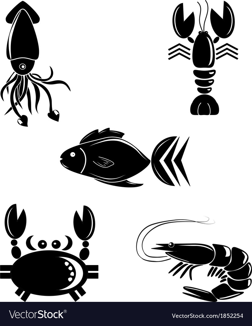 Seafood icon set vector | Price: 1 Credit (USD $1)