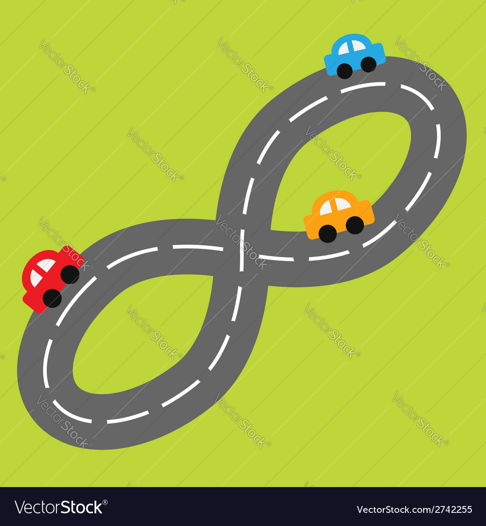Background with road in shape of infinity sign car vector | Price: 1 Credit (USD $1)