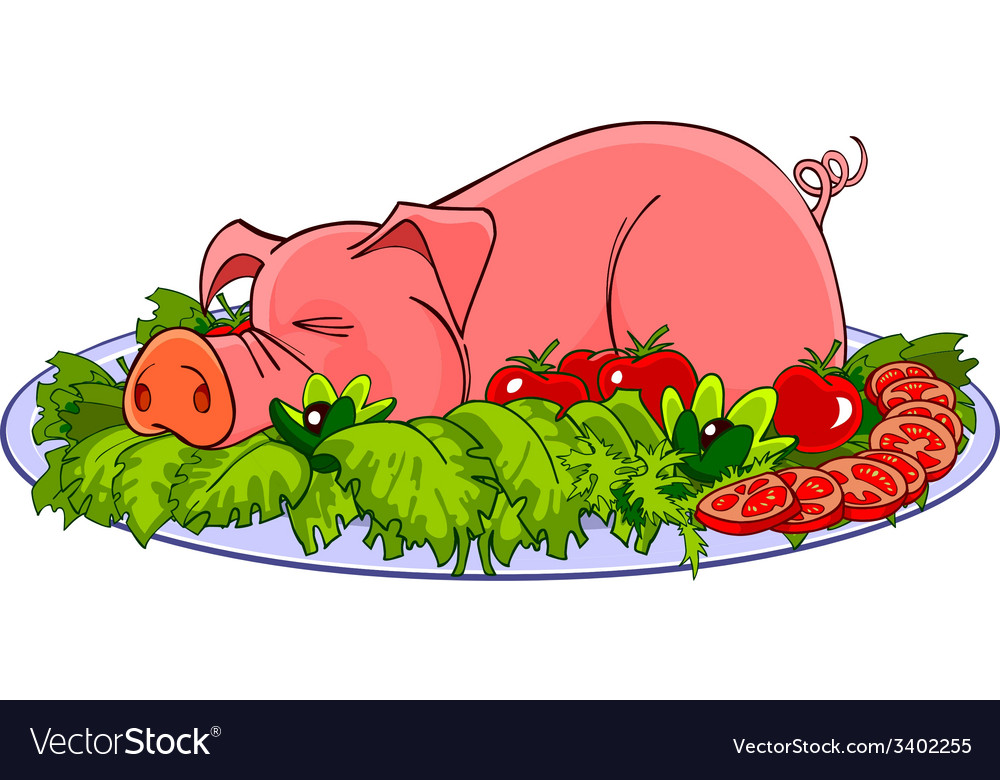 Cartoon pig on a plate with vegetables vector | Price: 1 Credit (USD $1)