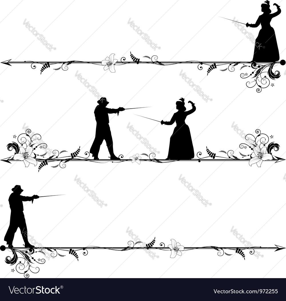Fencing people vector | Price: 1 Credit (USD $1)