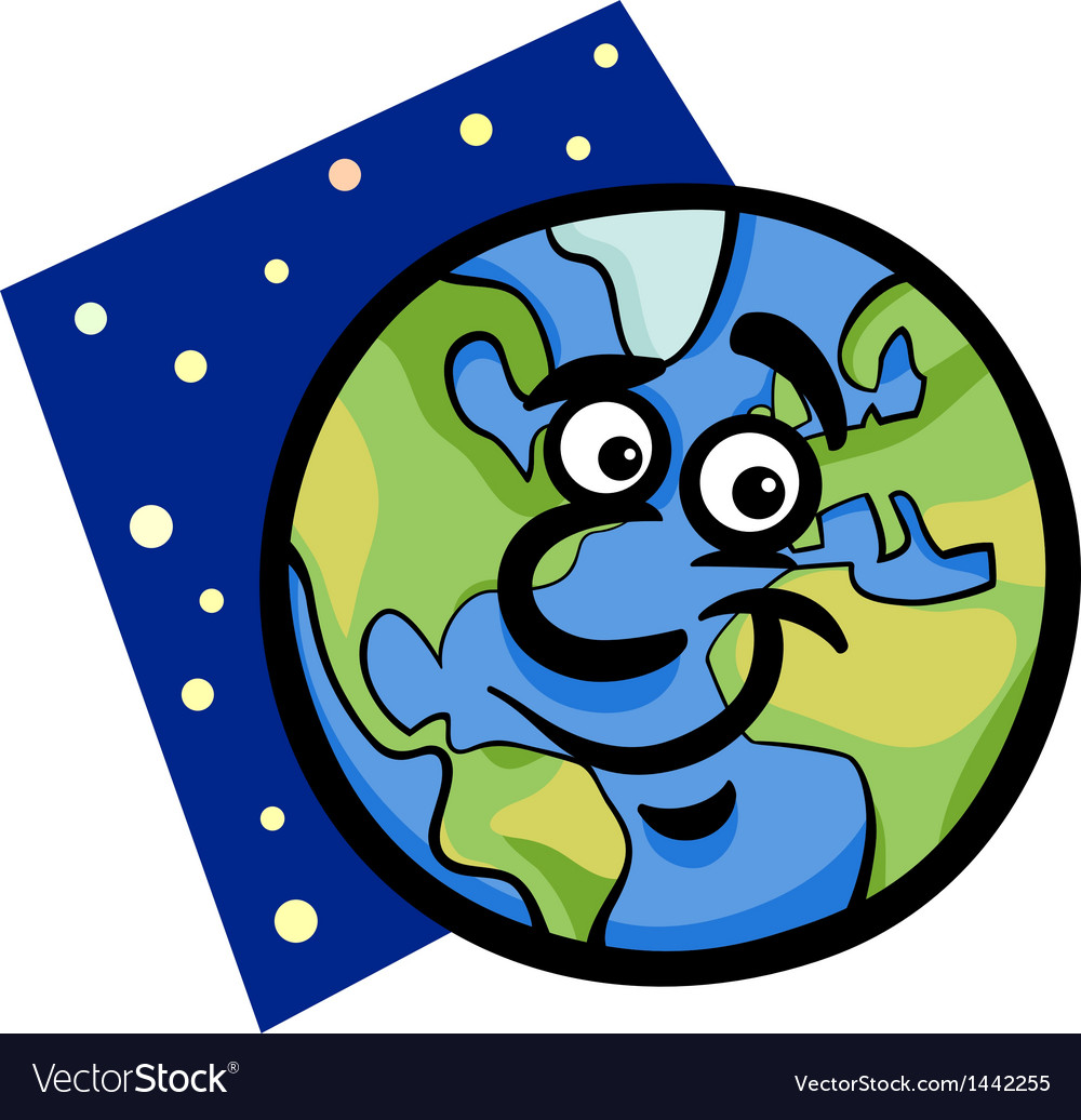 Funny earth planet cartoon vector | Price: 1 Credit (USD $1)