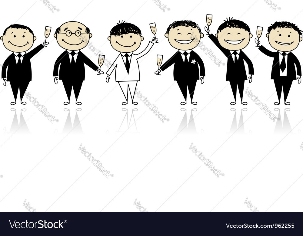 Groom with friends stag party for your design vector | Price: 1 Credit (USD $1)