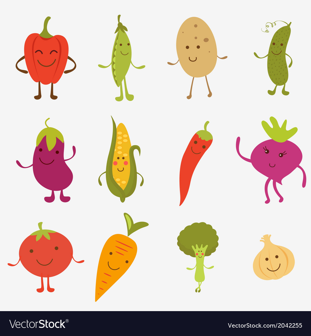 Happy farm vegetables vector | Price: 1 Credit (USD $1)