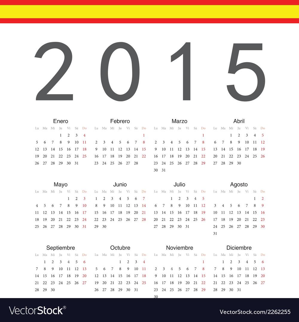 Simple spainish 2015 year calendar vector | Price: 1 Credit (USD $1)