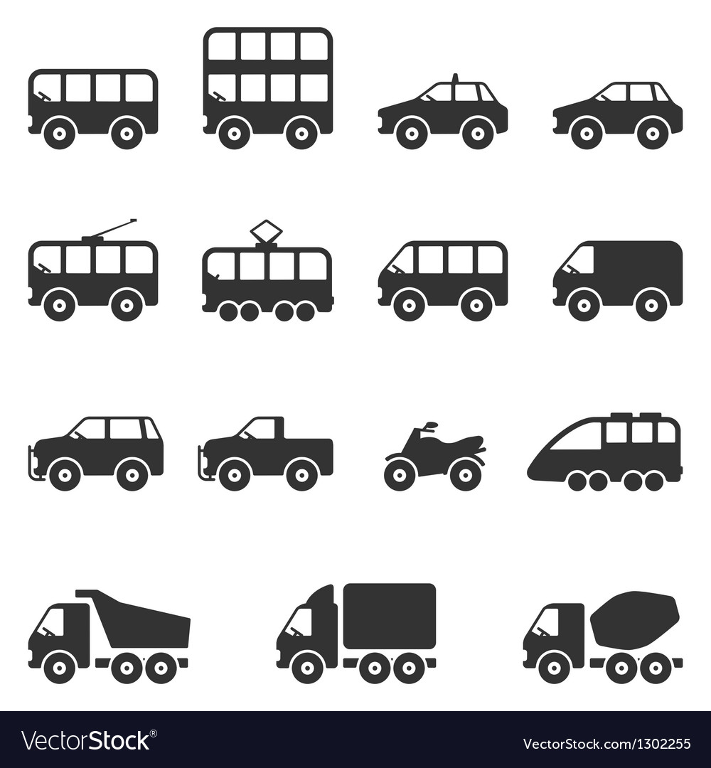Transport icon set vector | Price: 1 Credit (USD $1)